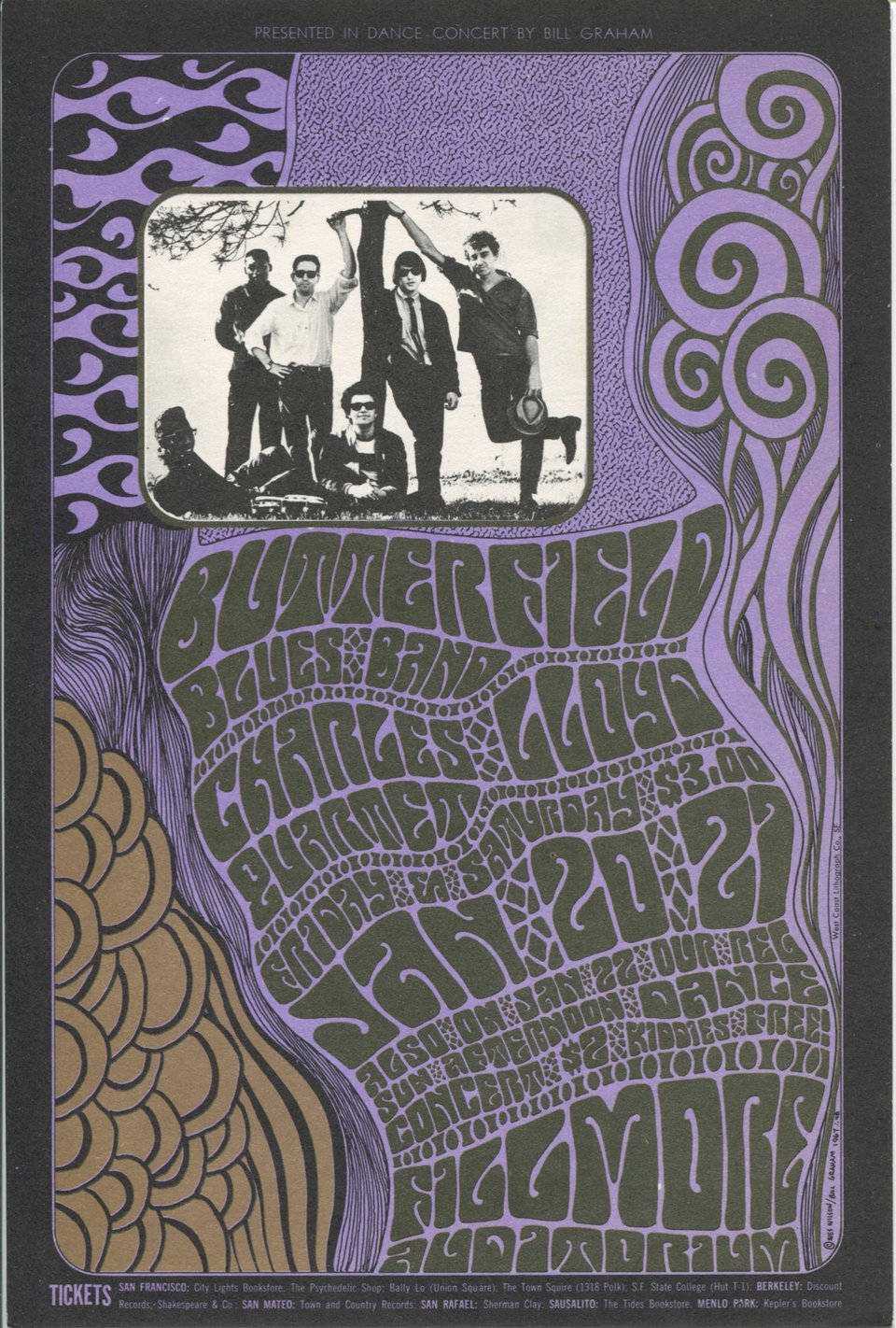 Butterfield Blues Band, Charles Lloyd Quartet – Vintage poster – Wes WILSON – 1967