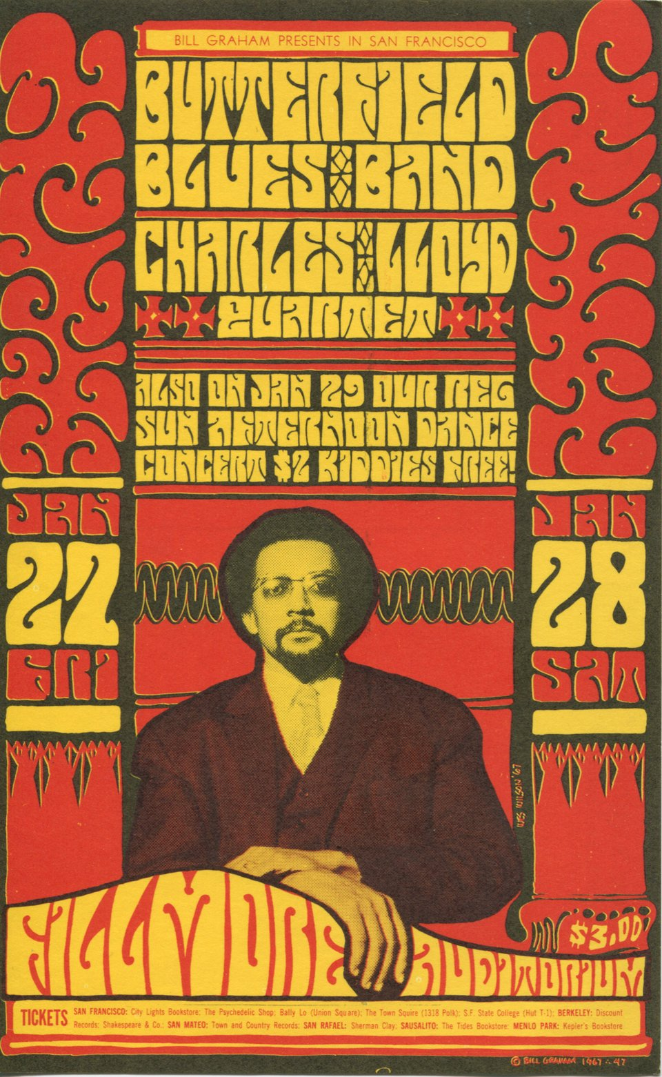 Butterflied Blues Band, Charles Lloyd Quartet – Vintage poster – Wes WILSON – 1967