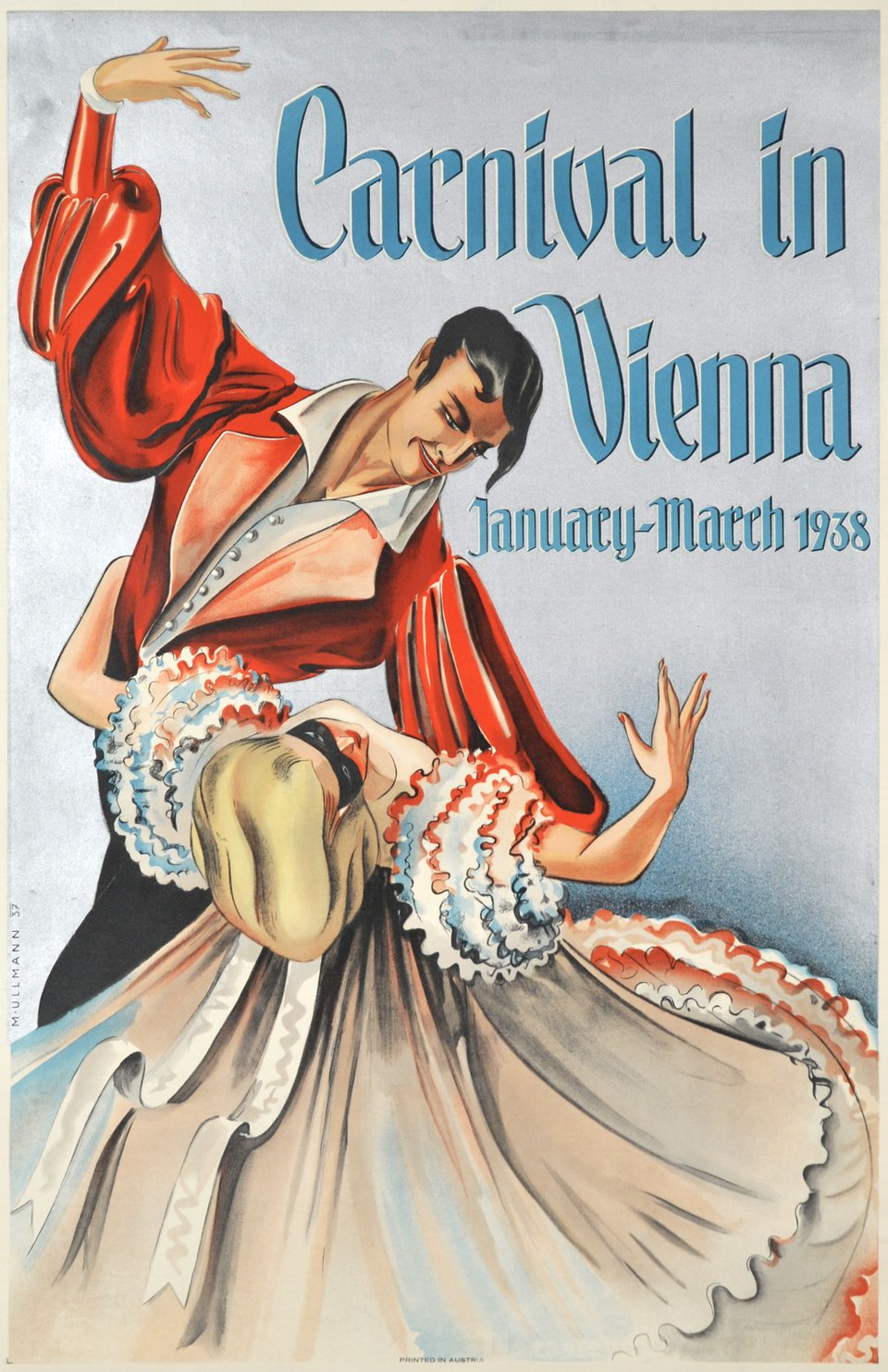 Carnival in Vienna, January-March 1938 – Affiche ancienne – Marianne ULLMANN – 1937