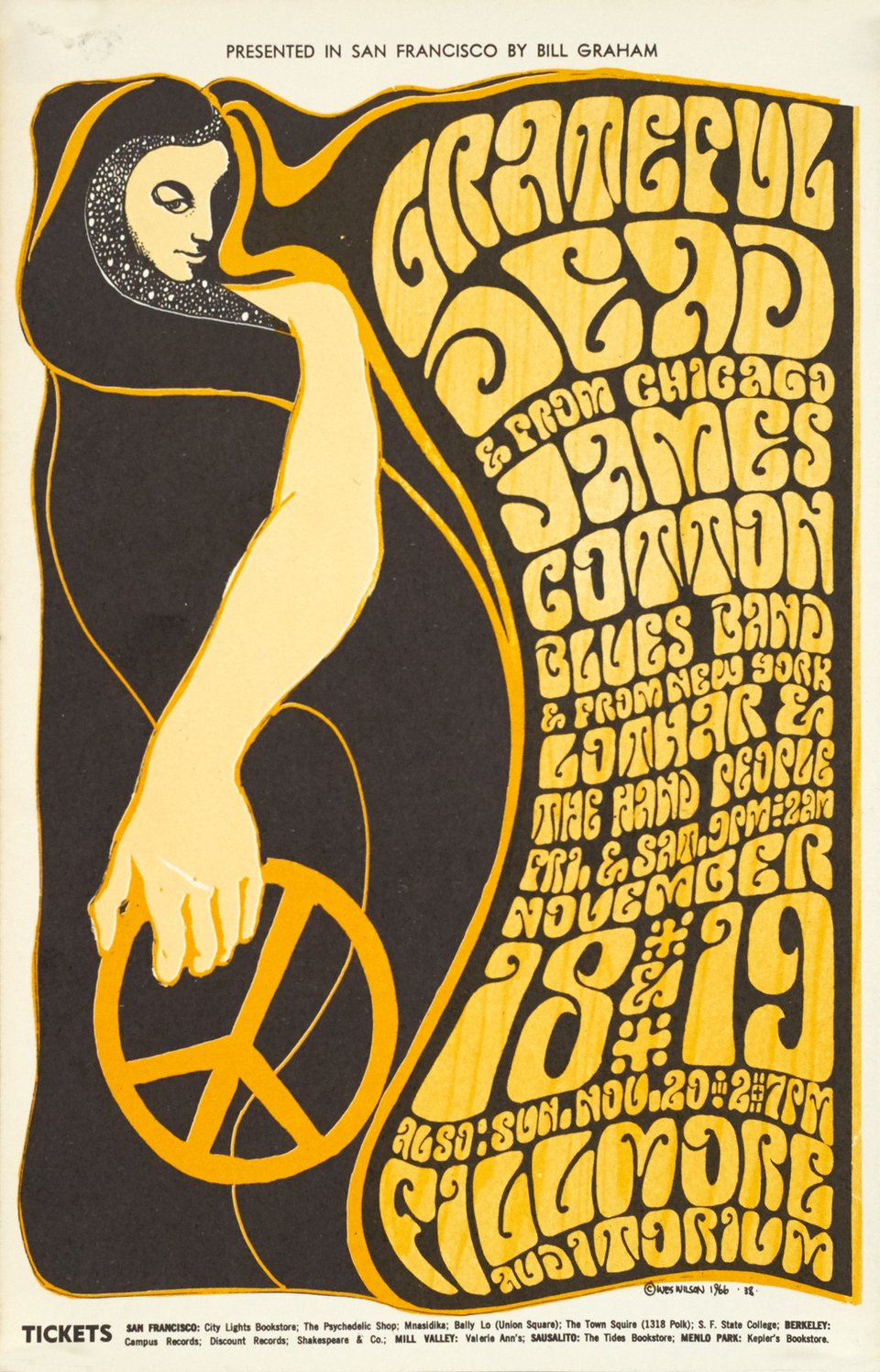 Grateful Dead at Fillmore – Affiche ancienne – Wes WILSON – 1966