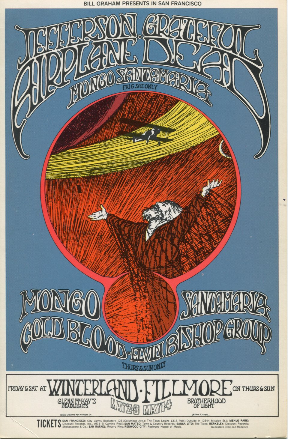 Cold Blood, Elvin Bishop Group, Grateful Dead, Jefferson Airplane, Mongo Santamaria – Vintage poster – Randy Tuten – 1969