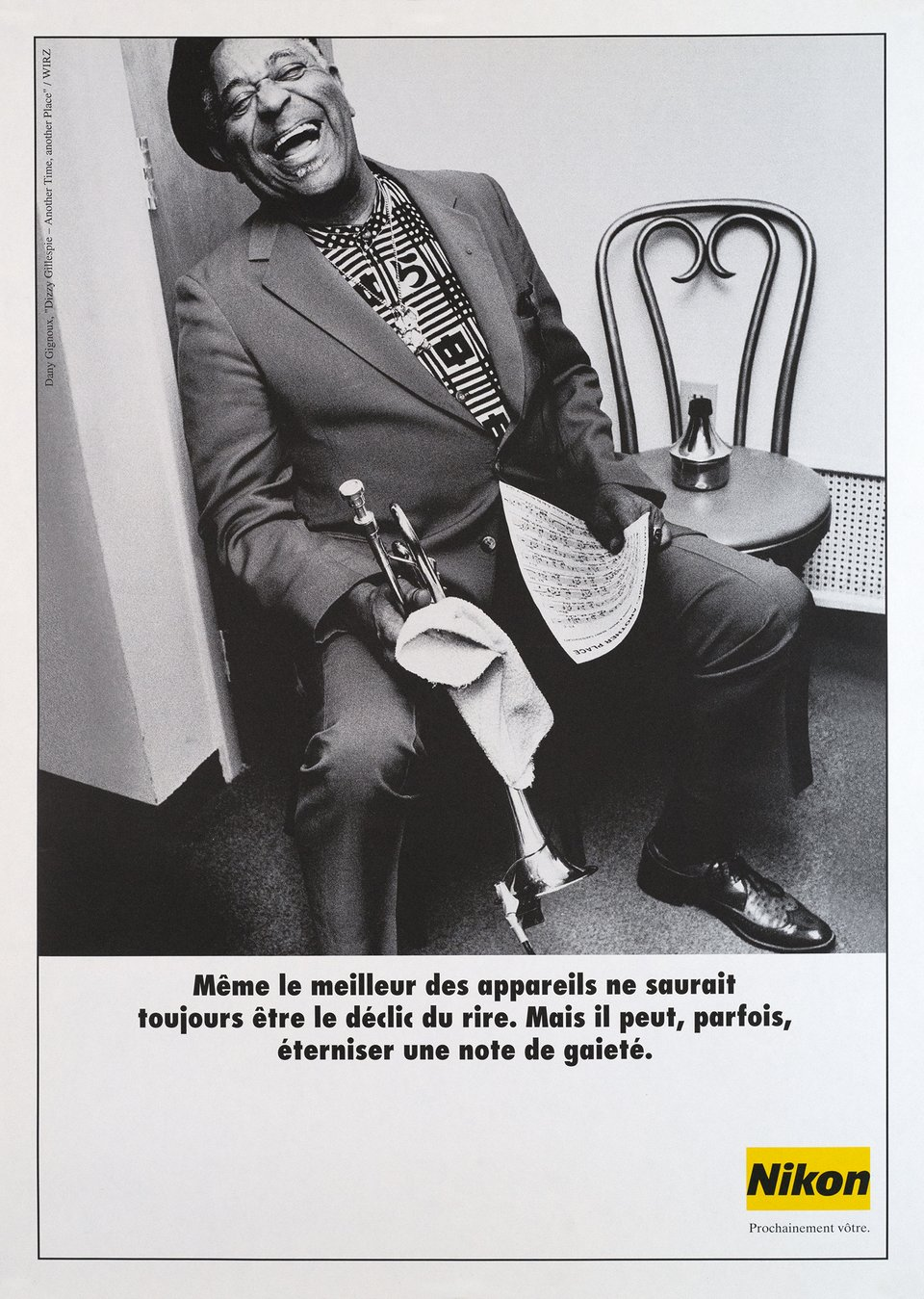 Dizzy Gillespie at the Smithsonian Institute, Nikon – Vintage poster – Dany GIGNOUX – 1990