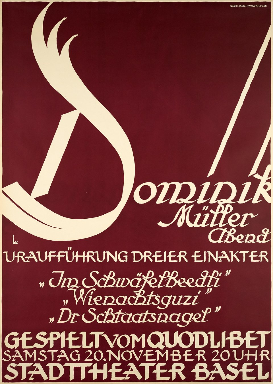 Dominik Müller Abend, Basel – Affiche ancienne – Wolfgang LUTHY – 1926