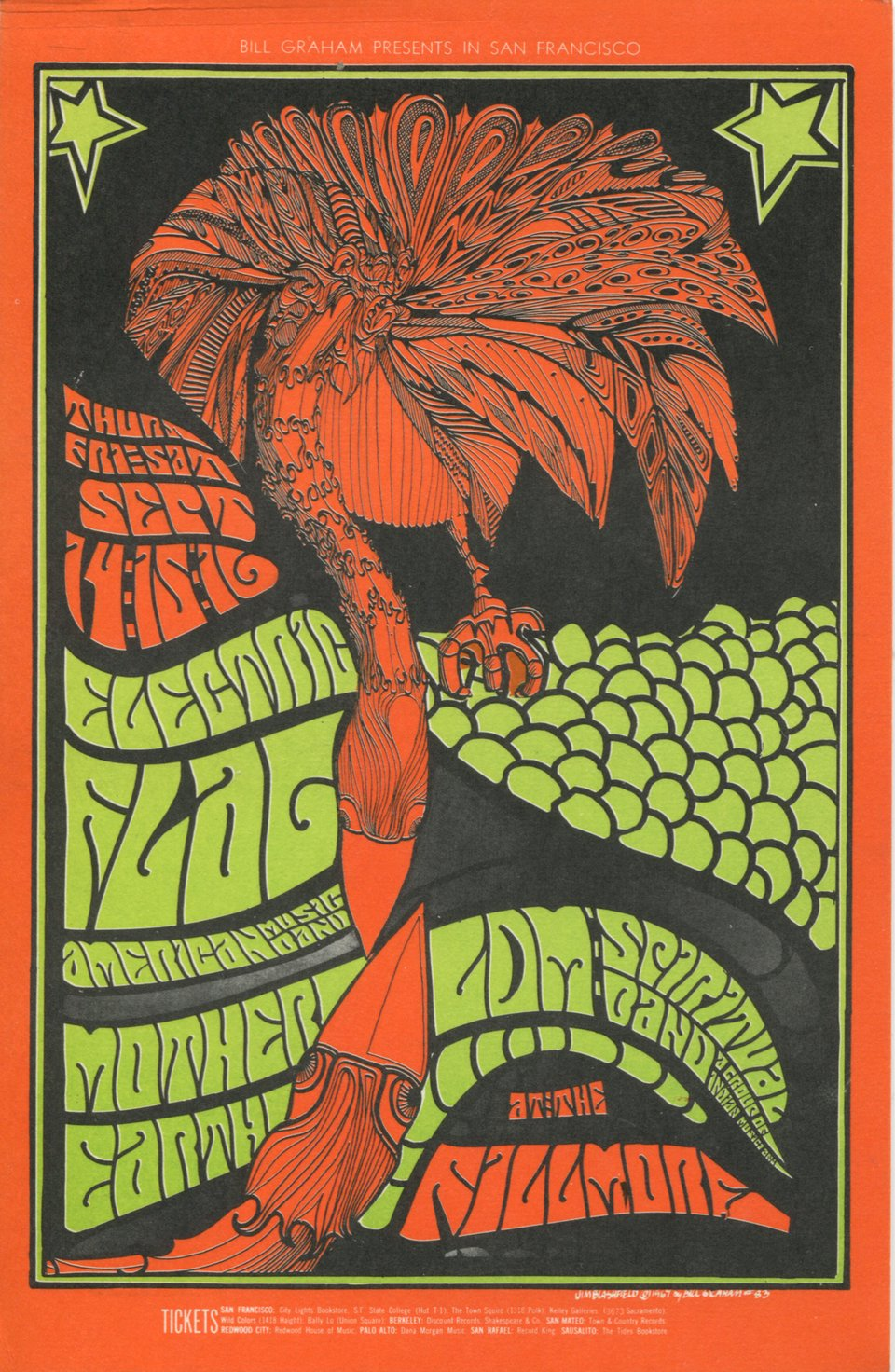 Electric Flag, Mother Earth, LDM Spiritual Band – Vintage poster – Jim Blashfield – 1967