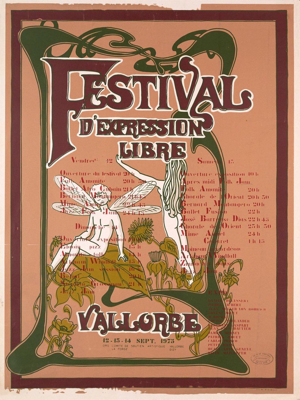 Vallorbe, Festival d'expression libre – Vintage poster –  ANONYME – 1975