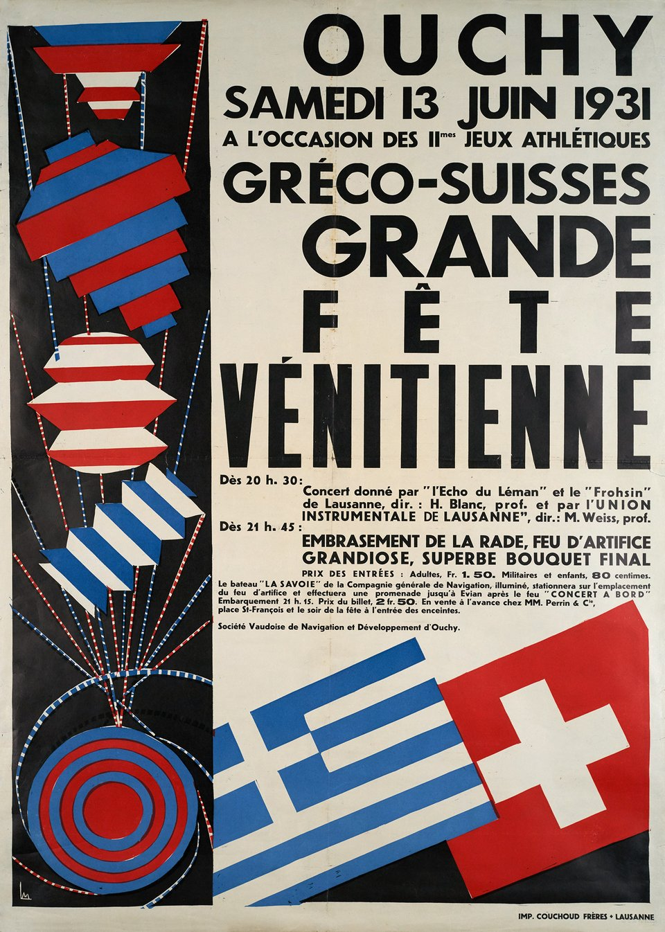 Grande Fête Vénitienne, Ouchy – Affiche ancienne –  MONOGRAMM – 1931