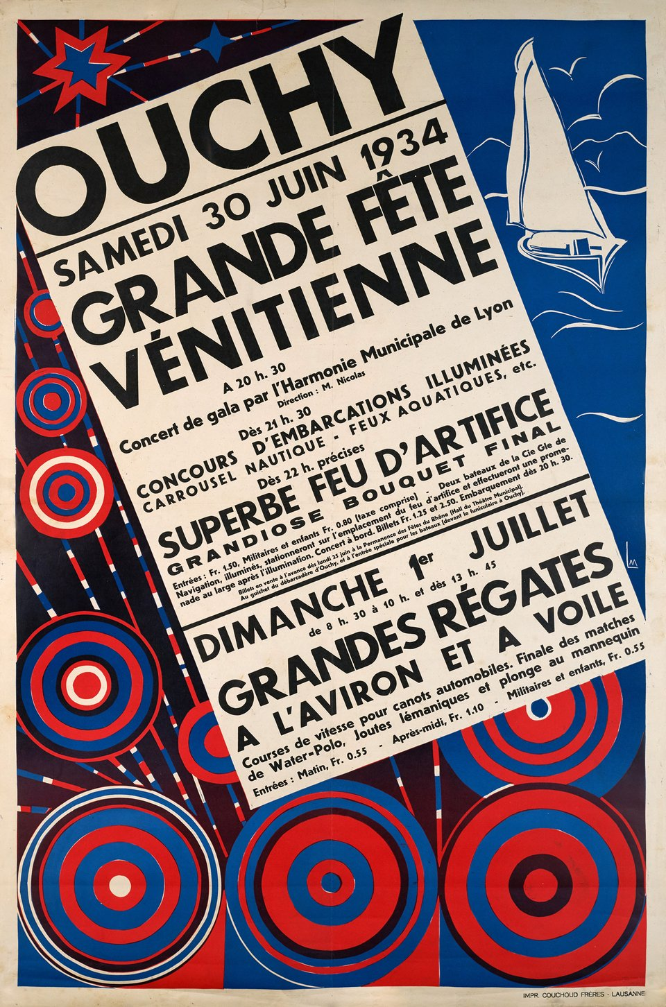 Grande Fête Vénitienne, Ouchy – Affiche ancienne –  MONOGRAMM – 1934