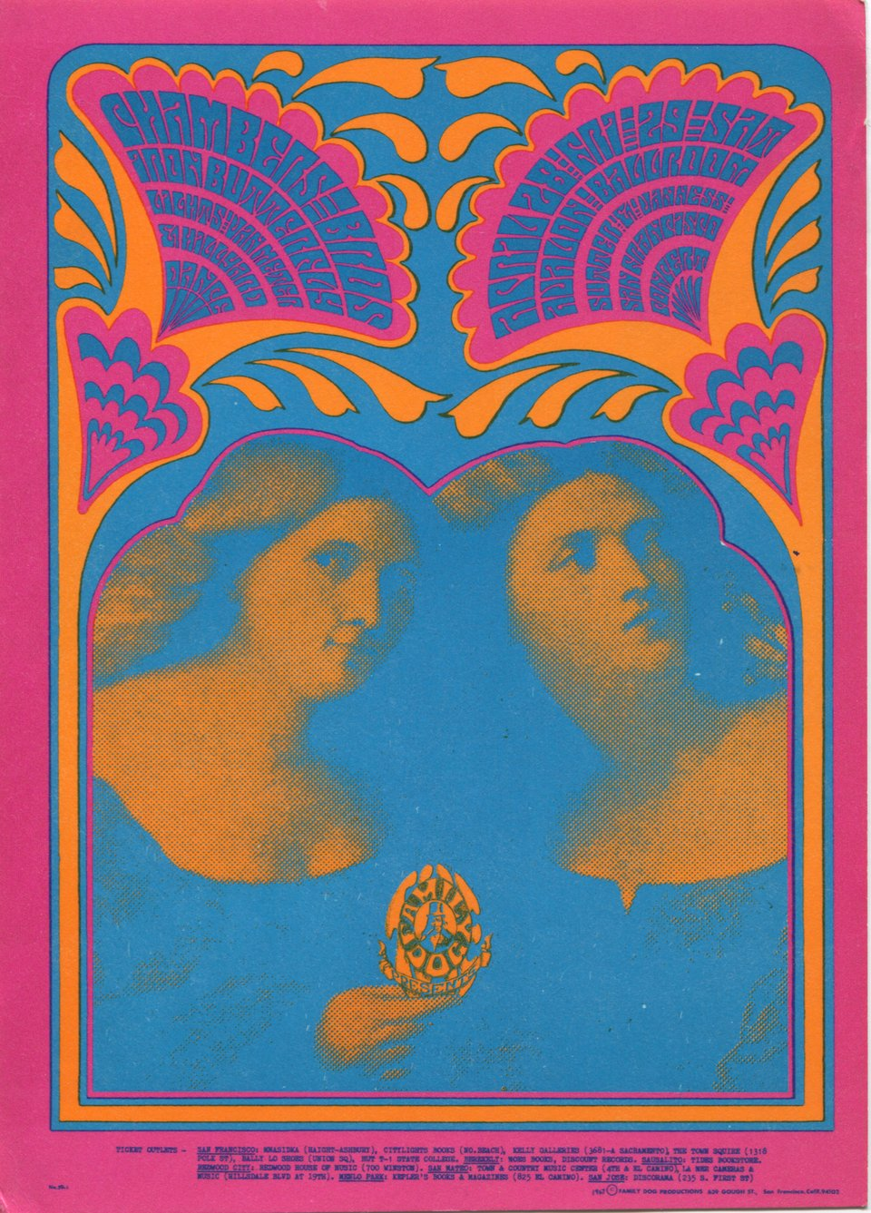 Iron Butterfly, Chambers Brothers – Vintage poster – Victor MOSCOSO – 1967