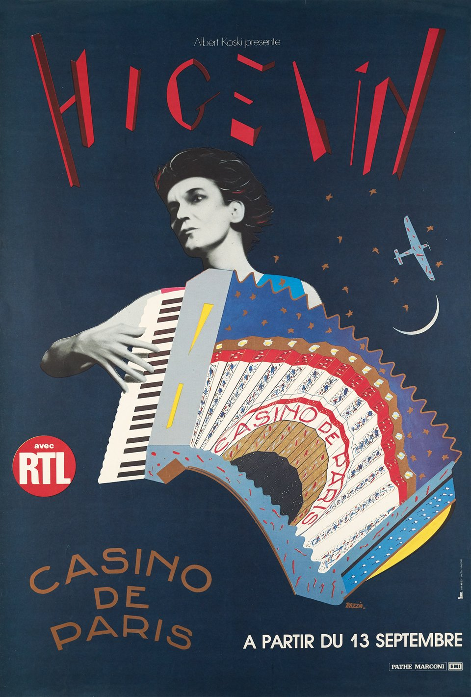 Jacques Higelin au Casino de Paris – Affiche ancienne –  RAZZIA – 1975