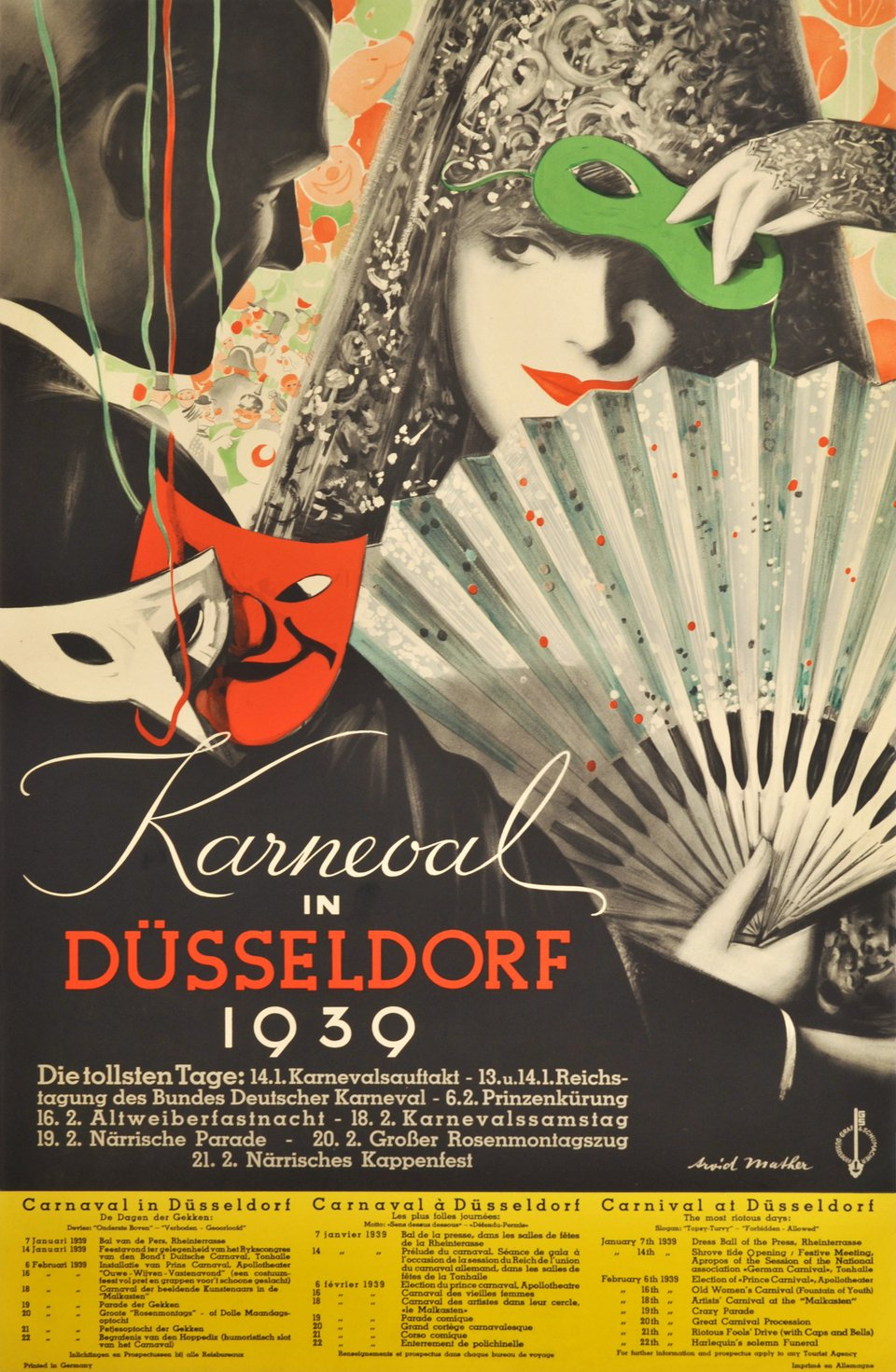 Karneval in Düsseldorf 1939 – Affiche ancienne – Arvid MATHER – 1939