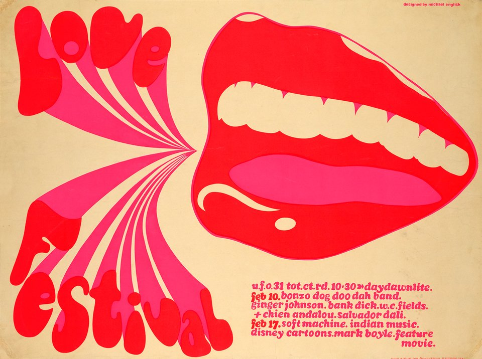 Love Festival, UFO and Love Machine – Vintage poster – Michael ENGLISH – 1967