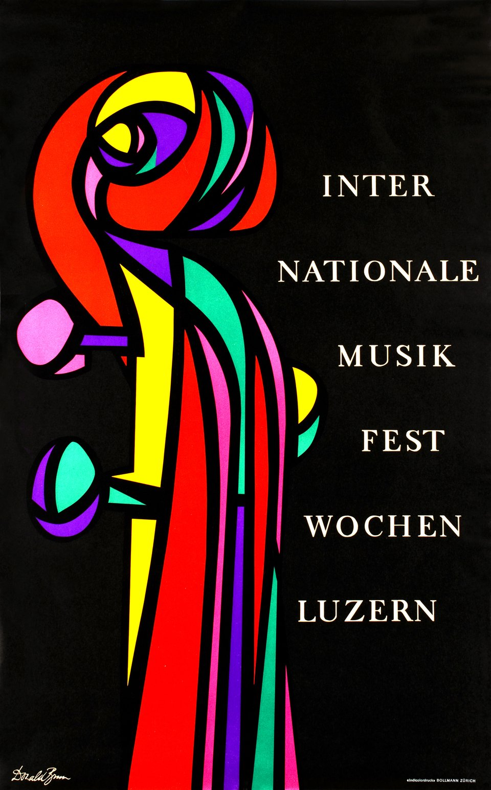 Luzern, Internationale Musik-Festwochen 1954 – Affiche ancienne – Donald BRUN – 1954