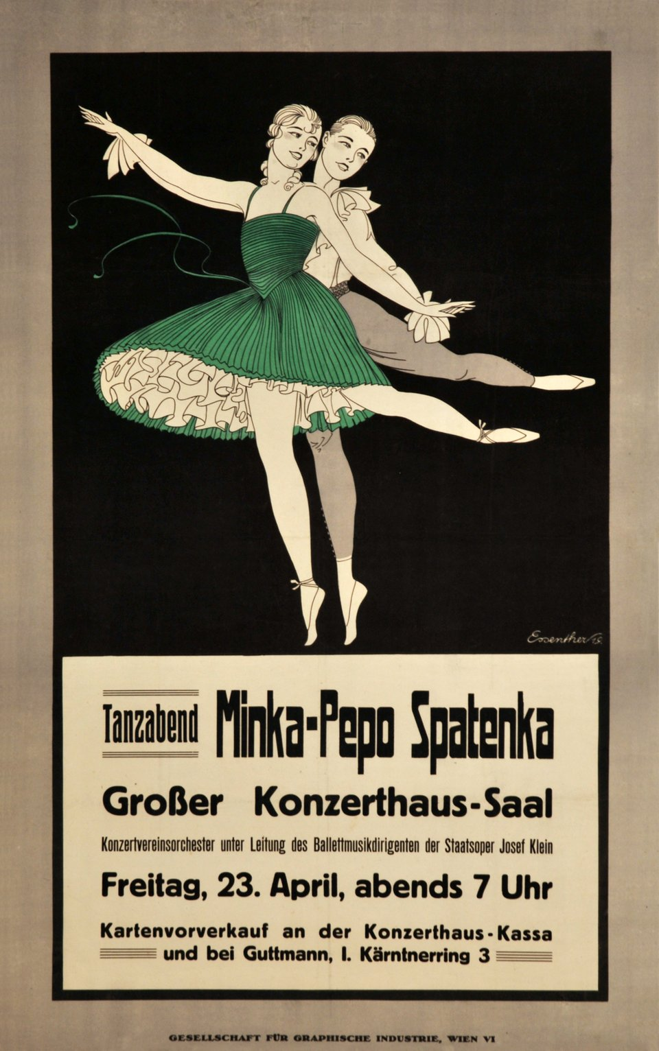 Minka-Pepo Spatenka – Affiche ancienne – ESSENTHER – 1919