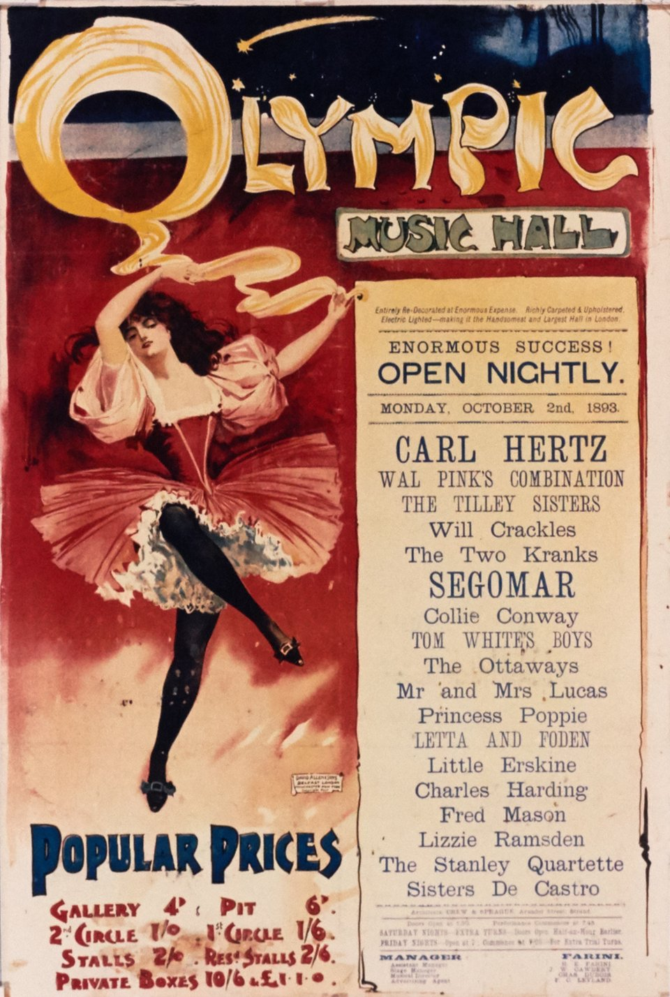 Olympic Music Hall – Affiche ancienne –  ANONYME – 1893