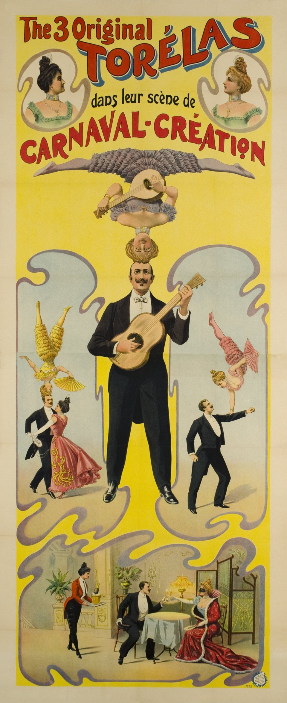 The 3 original Torélas, carnaval création – Affiche ancienne – ANONYME – 1900