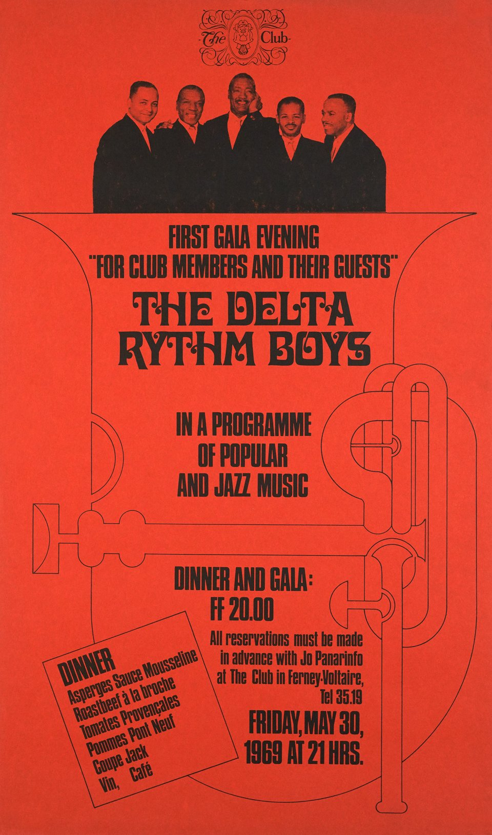 "The Delta Rythm Boys, First gala evening ""For club members and their guests"", in a programme of popular and jazz music – Vintage poster – ANONYME – 1969"