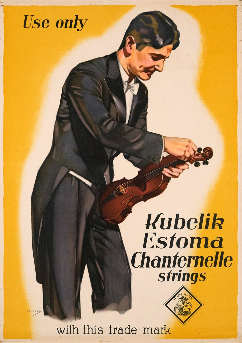 Use only Kubelik Estoma Chanternelle strings – Vintage poster – JAKESCH – 1935