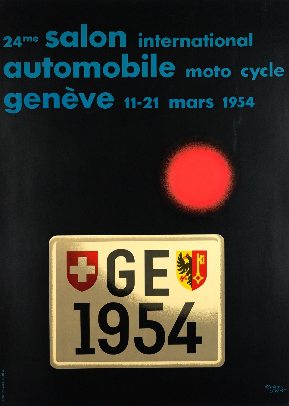 24me Salon Internationale automobile moto cycle Genève – Vintage poster – Herbert LEUPIN – 1954