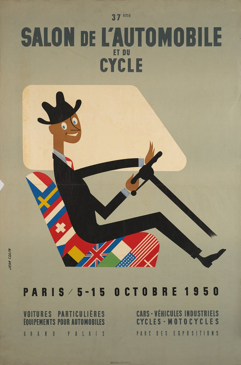 37ème Salon de l'Automobile et du Cycle, Paris – Vintage poster – Jean COLIN – 1950