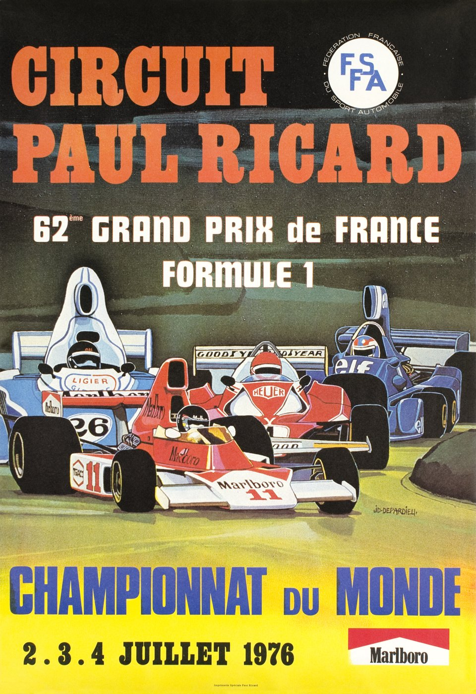 62e Grand Prix de France Formule 1, Circuit Paul Ricard – Affiche ancienne – J.D DEPARDIEU – 1976