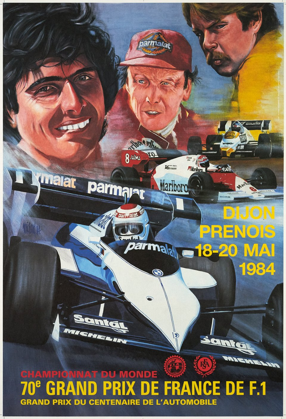 70e Grand Prix de France de F1 – Vintage poster – M. RICHARD – 1984