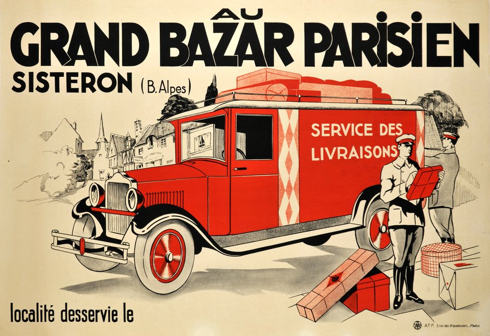 Au Grand Bazar Parisien, Sisteron – Affiche ancienne – ANONYMOUS – 1920