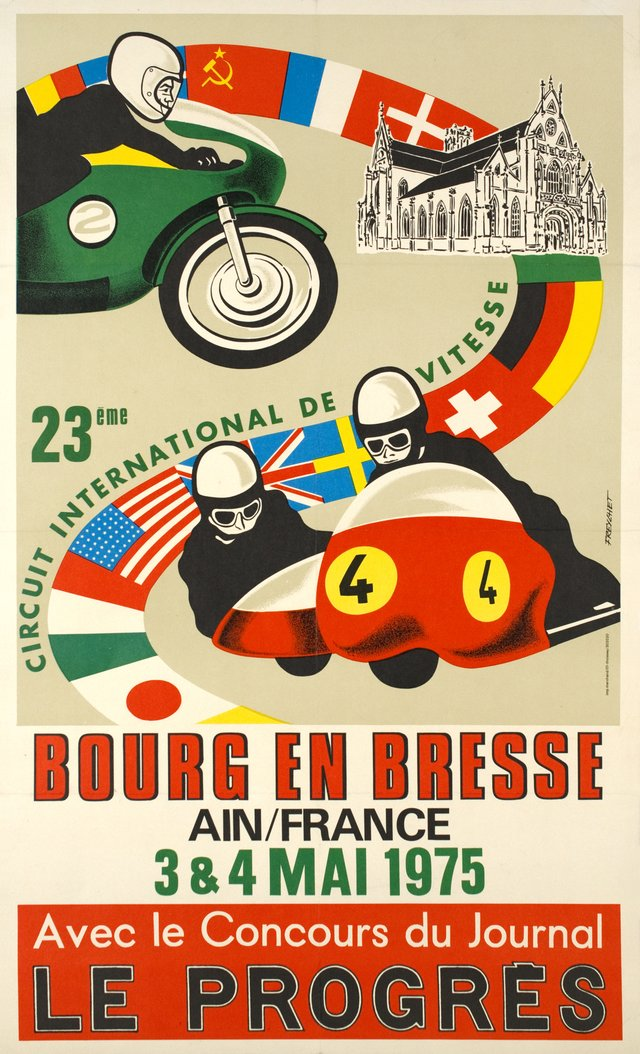 Bourg en Bresse, 23ème circuit international de vitesse, Ain France 1975