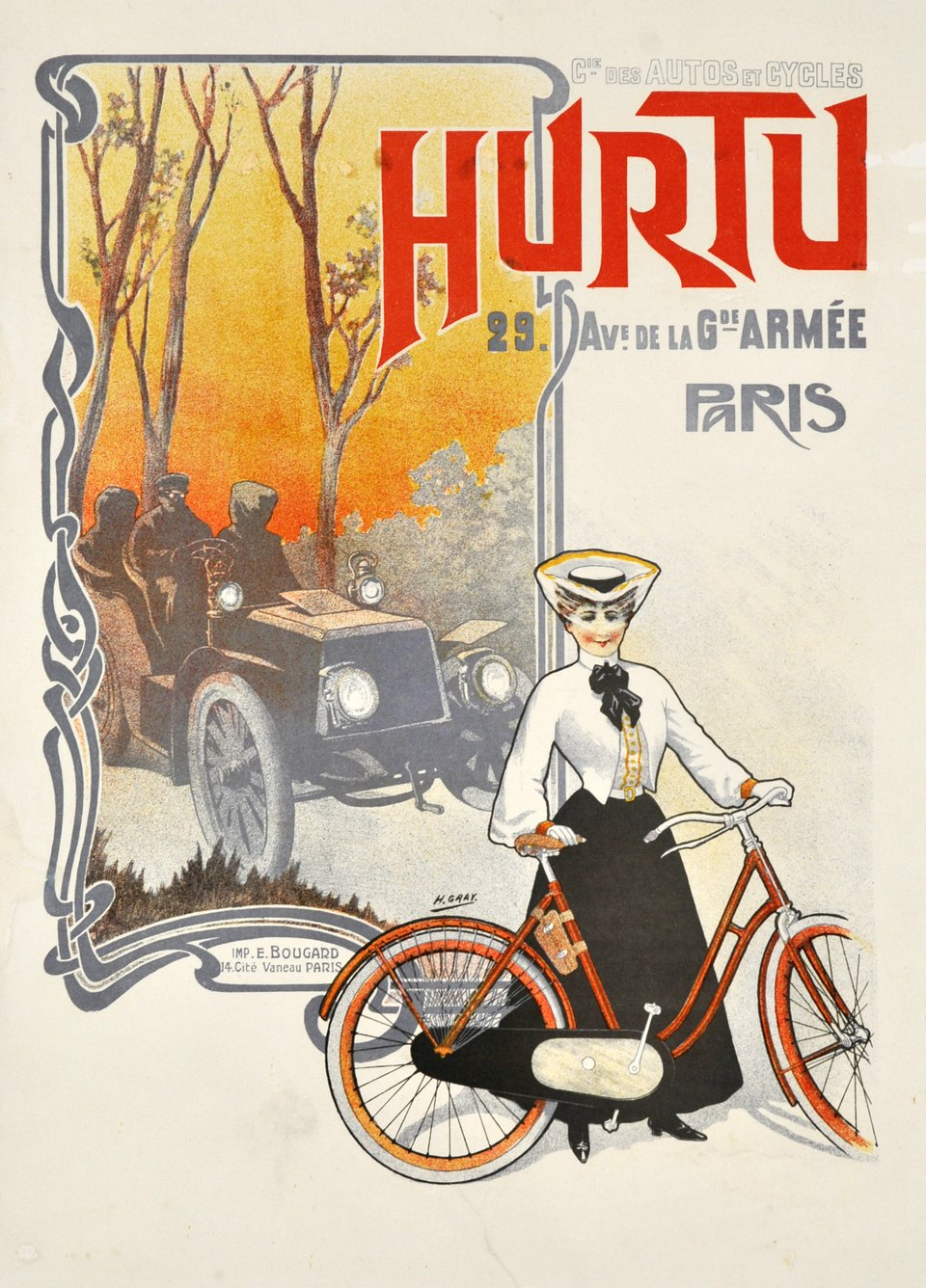 Cie des Autos et Cycles, Hurtu Paris – Vintage poster – Henri GRAY – 1900