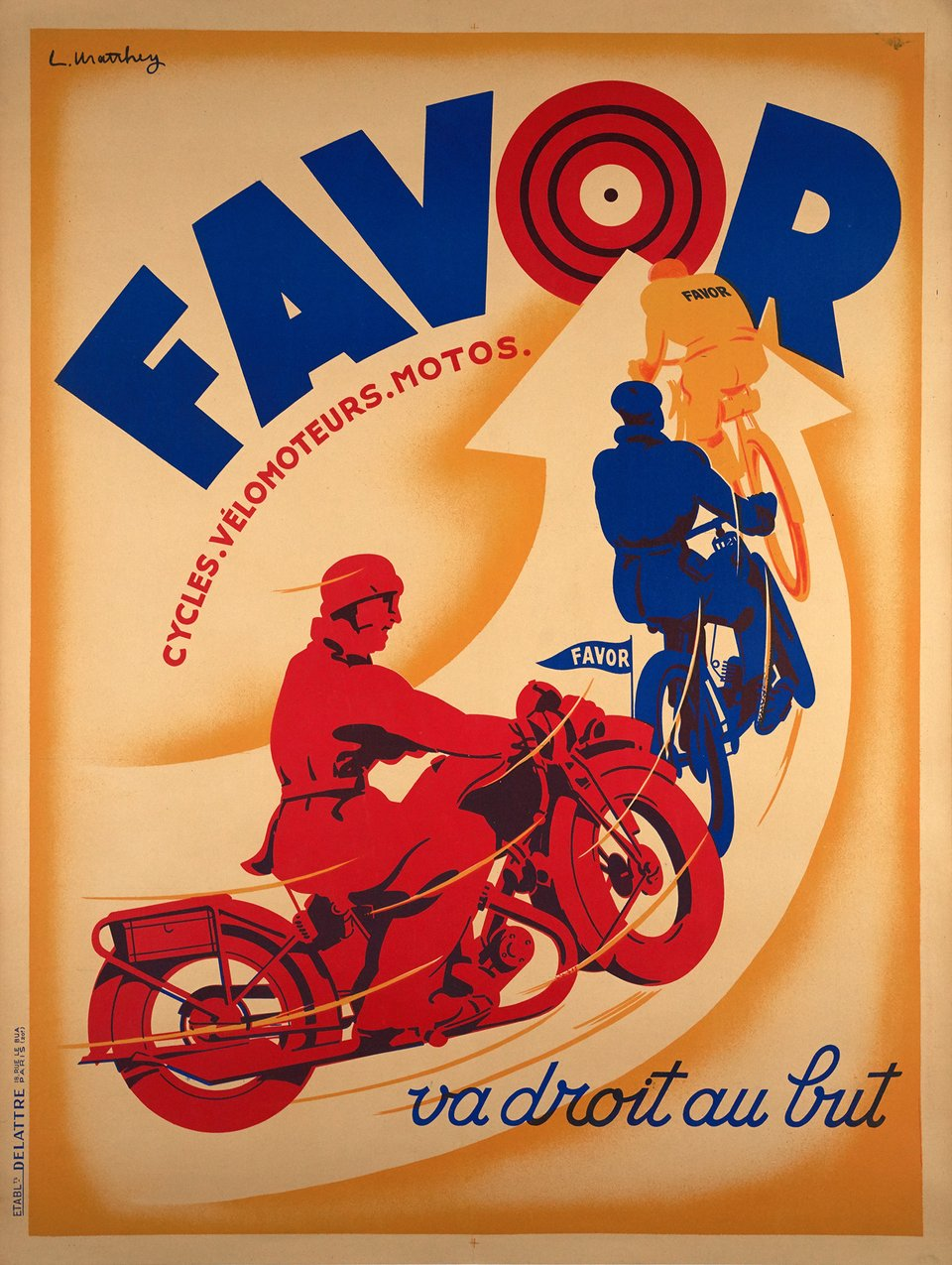 Favor va droit au but, cycles - vélomoteurs - motos – Vintage poster – L MATTHEY – 1920