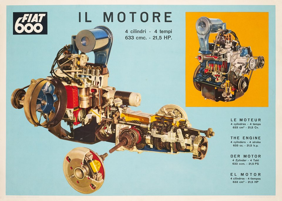 Fiat 600, Il Motore – Vintage poster –  ANONYME – 1960