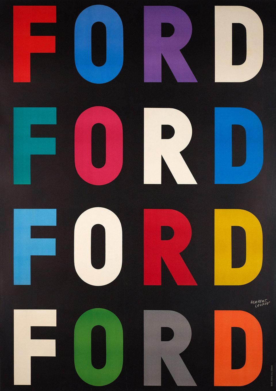 FORD FORD FORD FORD – Vintage poster – Herbert LEUPIN – 1954
