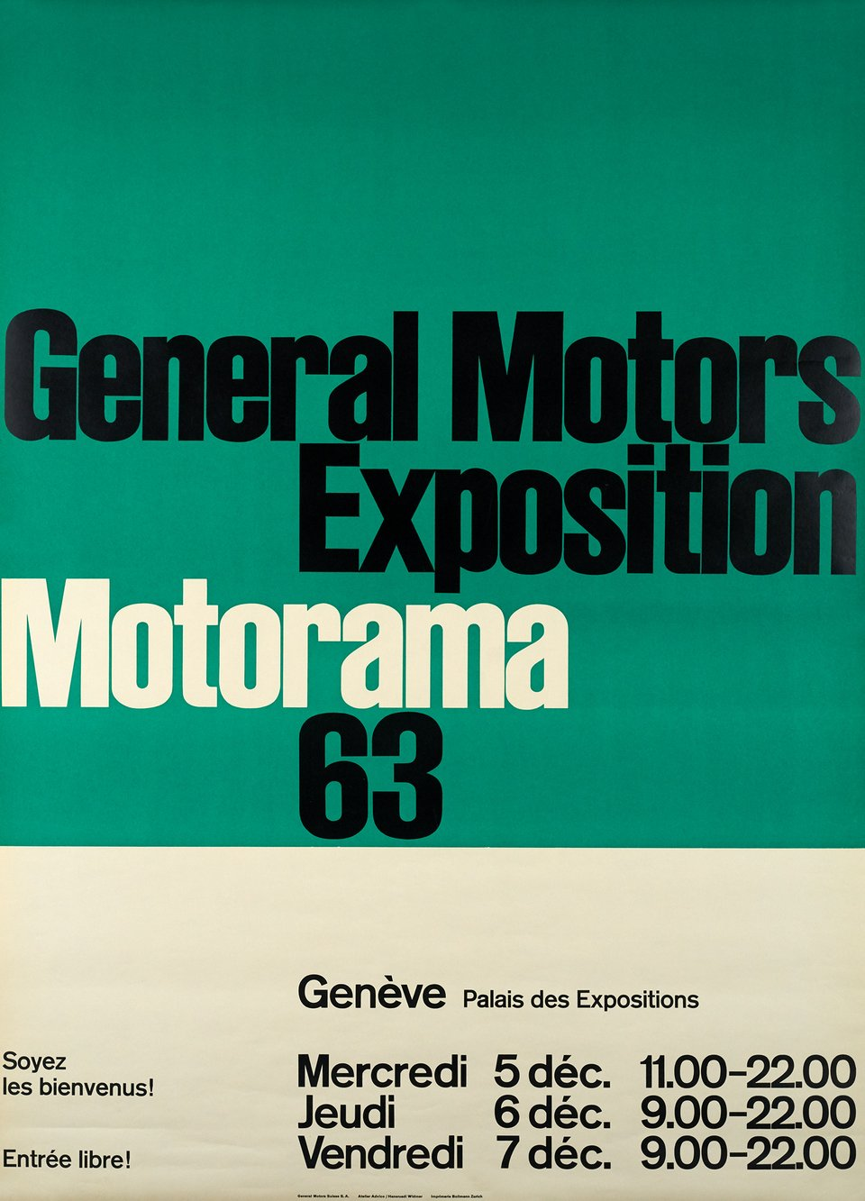 General Motors, Exposition Motorama 63 – Affiche ancienne –  ADVICO – 1963
