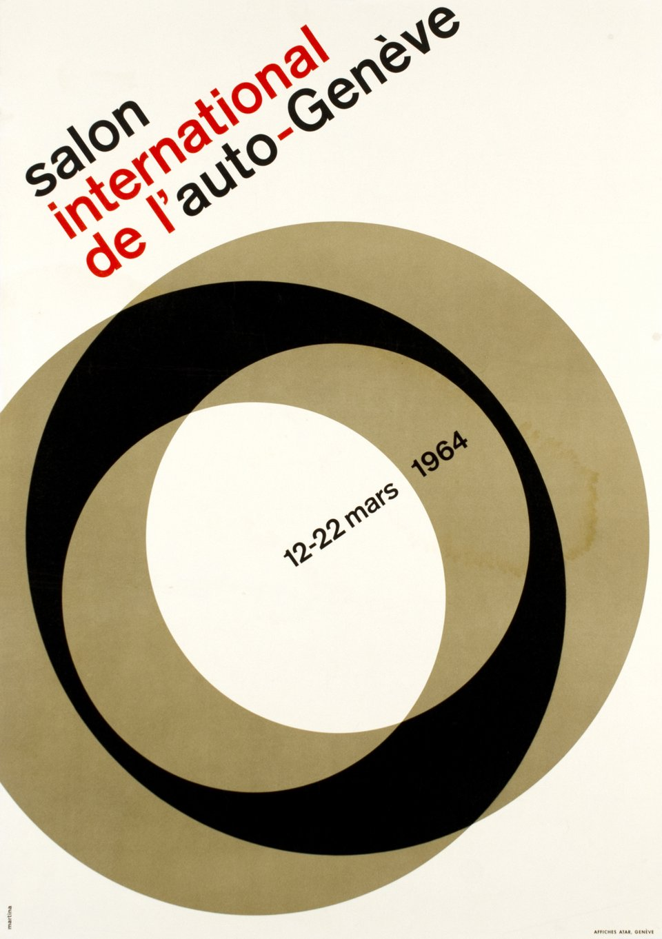 Genève, Salon International de l'Auto 1964 – Affiche ancienne – Michel MARTINA – 1964