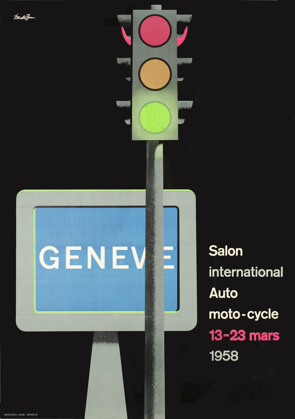 Genève, Salon International de l'Automobile, 1958 – Vintage poster – Donald BRUN – 1958