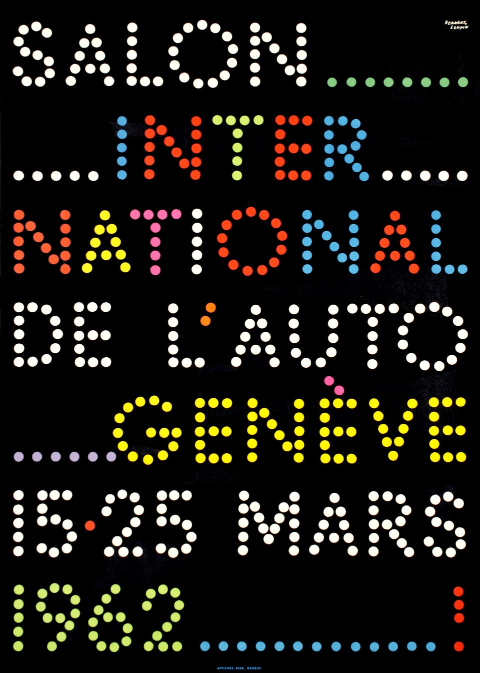 Genève, Salon International de l'Automobile, 1962 – Vintage poster – Herbert LEUPIN – 1962