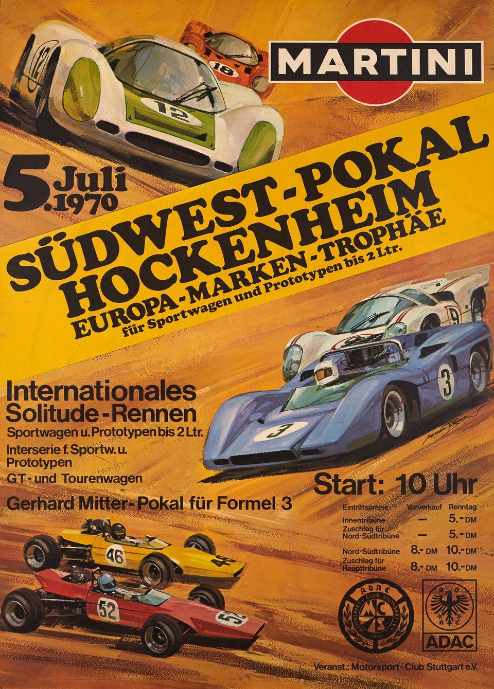 Grand Prix Südwest-Pokal Hockenheim, Martini – Affiche ancienne – Michael TURNER – 1970