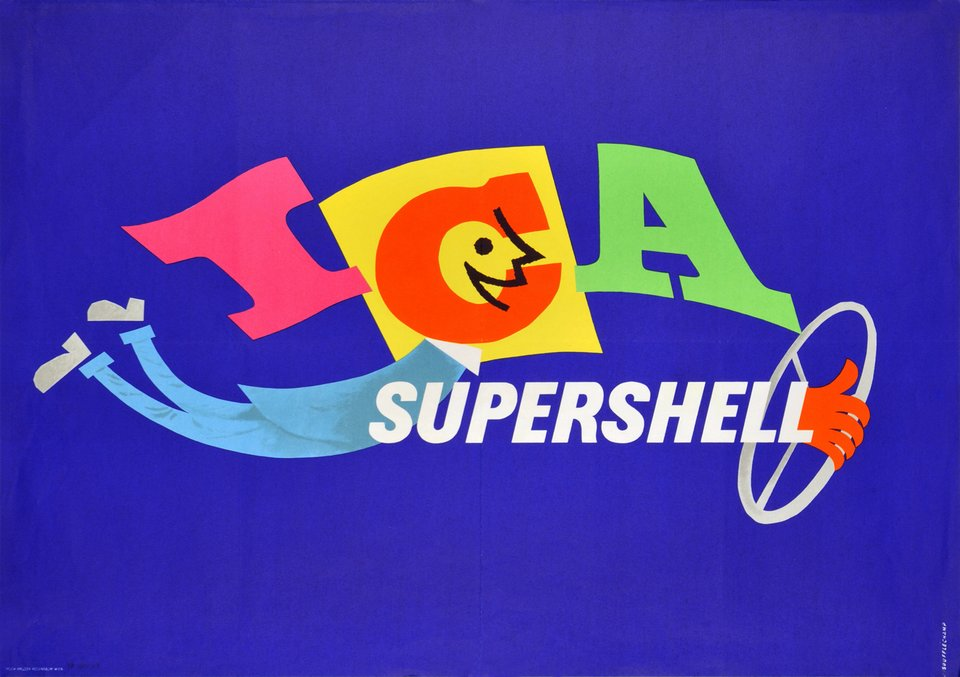 ICA SuperShell – Affiche ancienne –  SOUFFLECHAMP – 1959