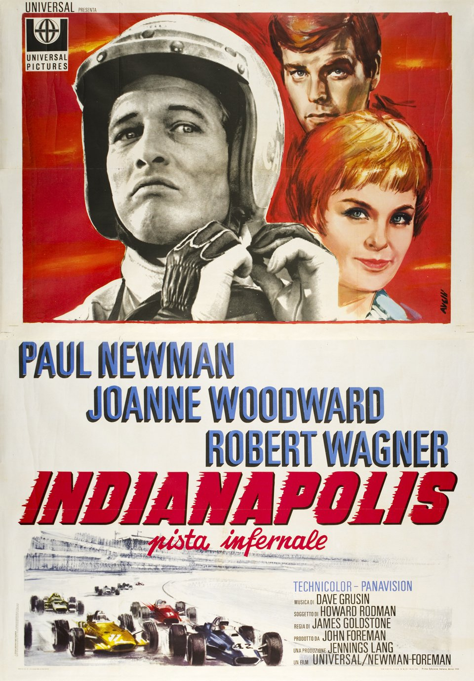 """Indianapolis, pista infernale"" movie with Paul Newmann, Joanne Woodward and Robert Wagner – Vintage poster – Tino AVELLI – 1969"
