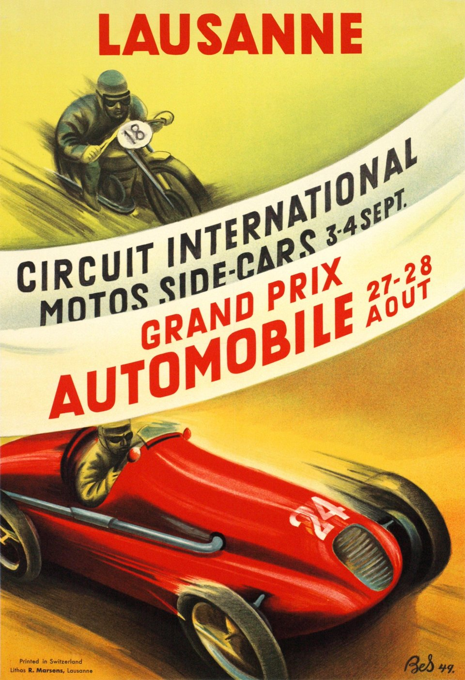 Lausanne, circuit international motos side-cars, Grand Prix Automobile – Vintage poster – Marguerite BOURNOUD-SCHORP – 1949