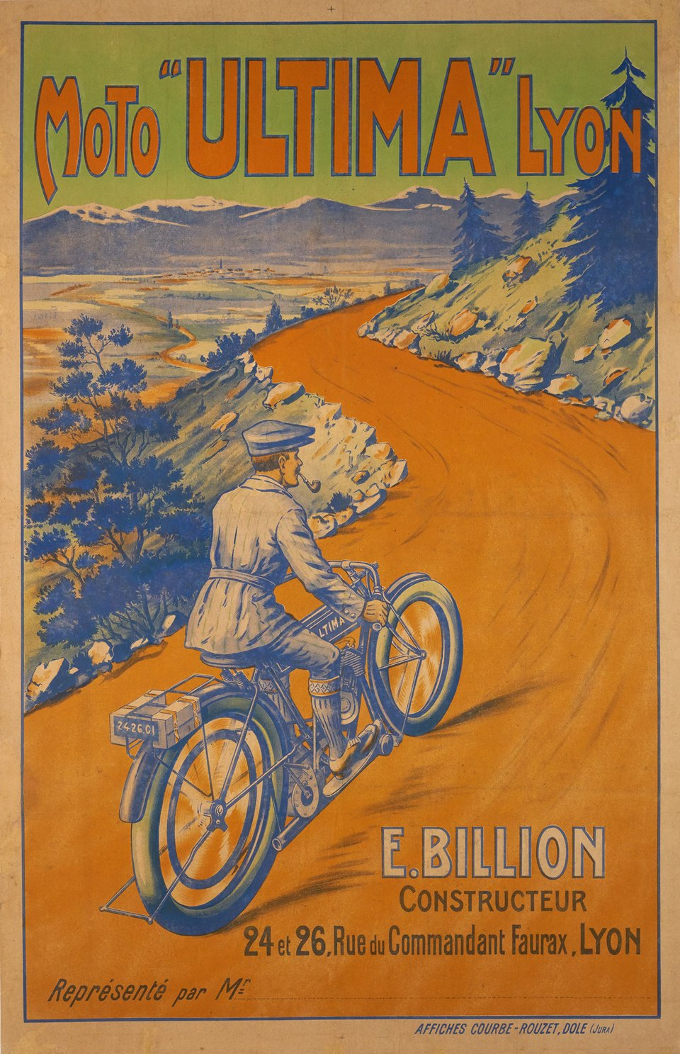 "Moto ""Ultima"" Lyon, type A – Affiche ancienne –  ANONYME – 1920"
