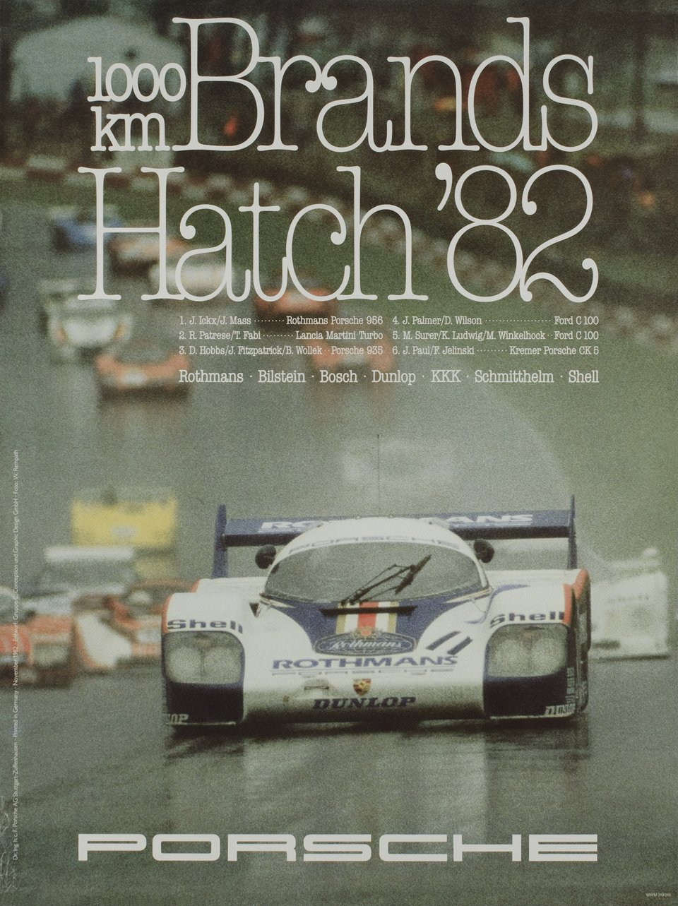 Porsche, 1000km Brands Hatch' 82 – Affiche ancienne – W. REMPATH – 1982