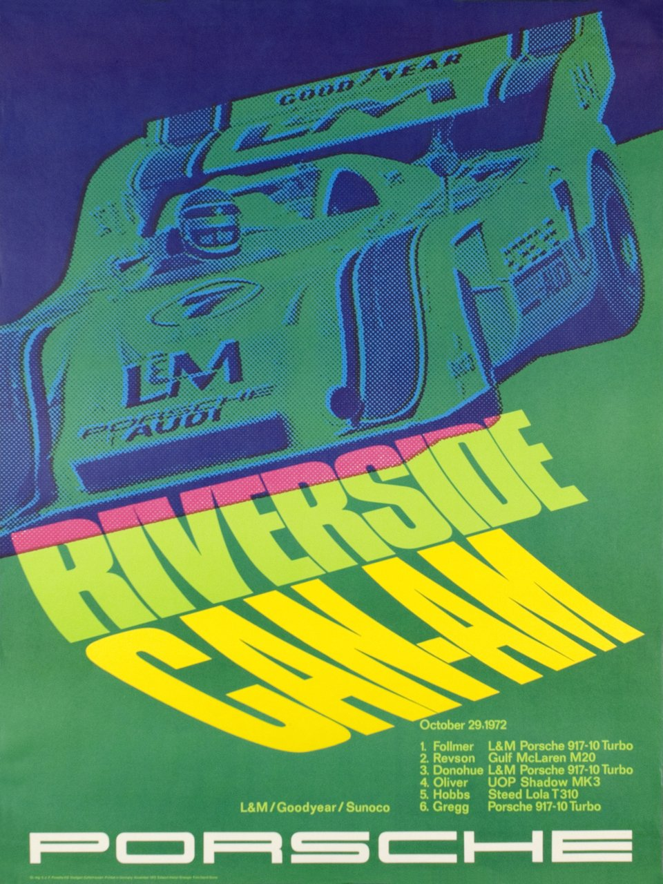 Porsche, Riverside Can-Am 1972 – Affiche ancienne – & ATELIER STRENGER DAVIDSTONE – 1972
