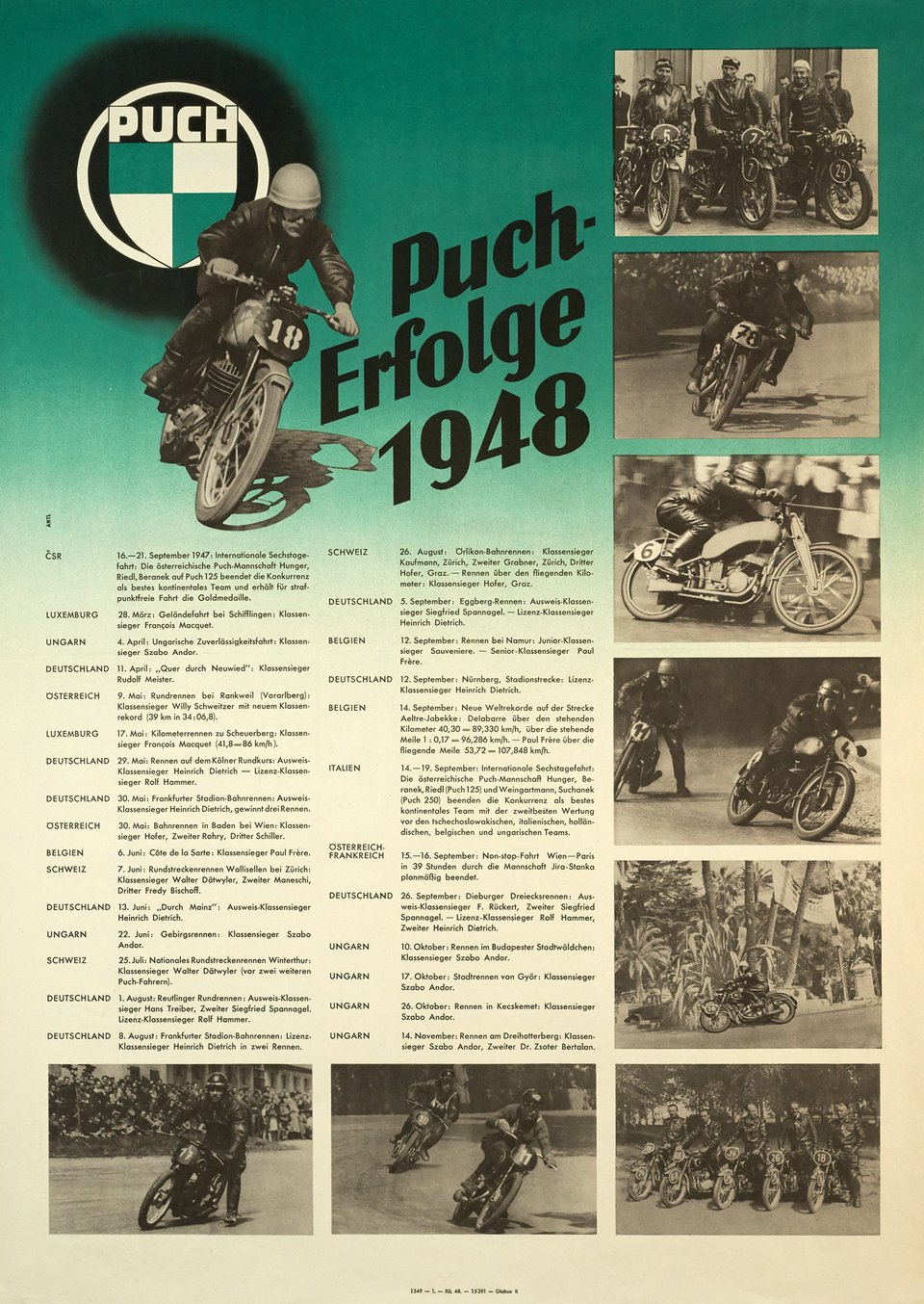Puch-Erfolge 1948 – Affiche ancienne –  ANONYME – 1948