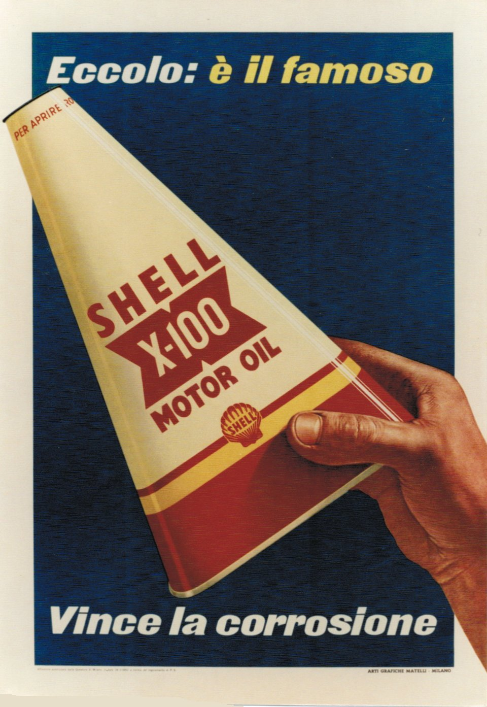Shell X100 Motor Oil – Vintage poster – ANONYME – 1952