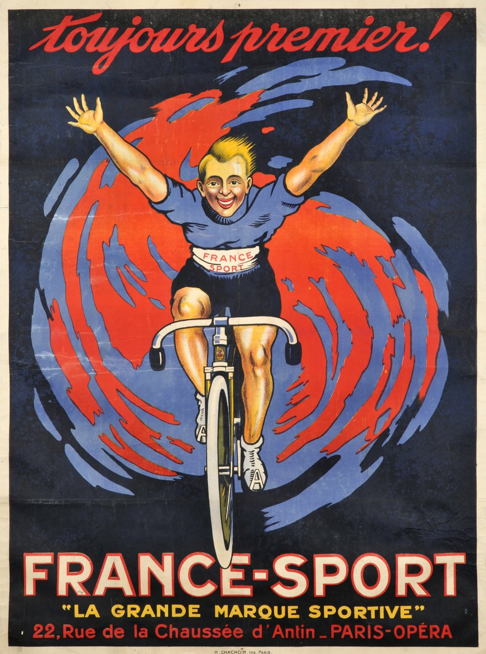 Toujours premier! France-Sports – Affiche ancienne –  ANONYME – 1910