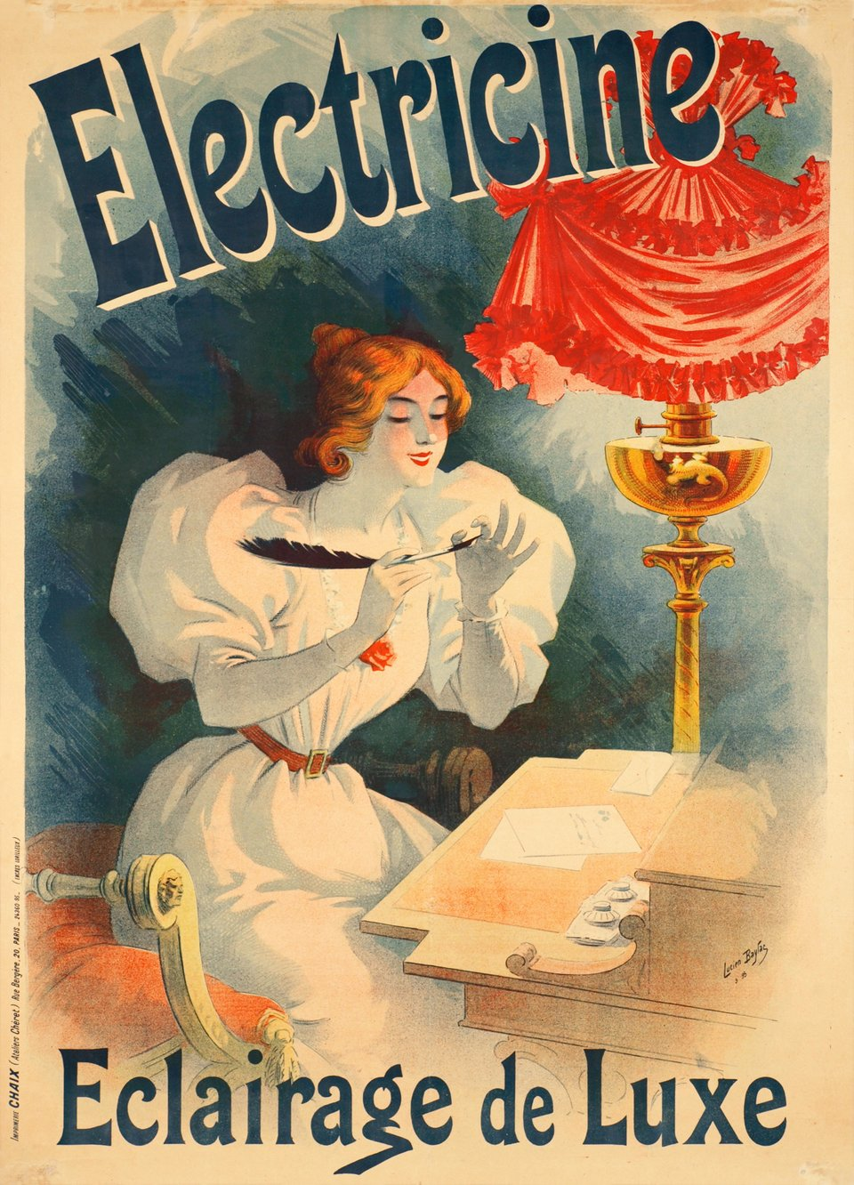 Electricine, Eclairage de luxe – Affiche ancienne – Lucien BAYLAC – 1895