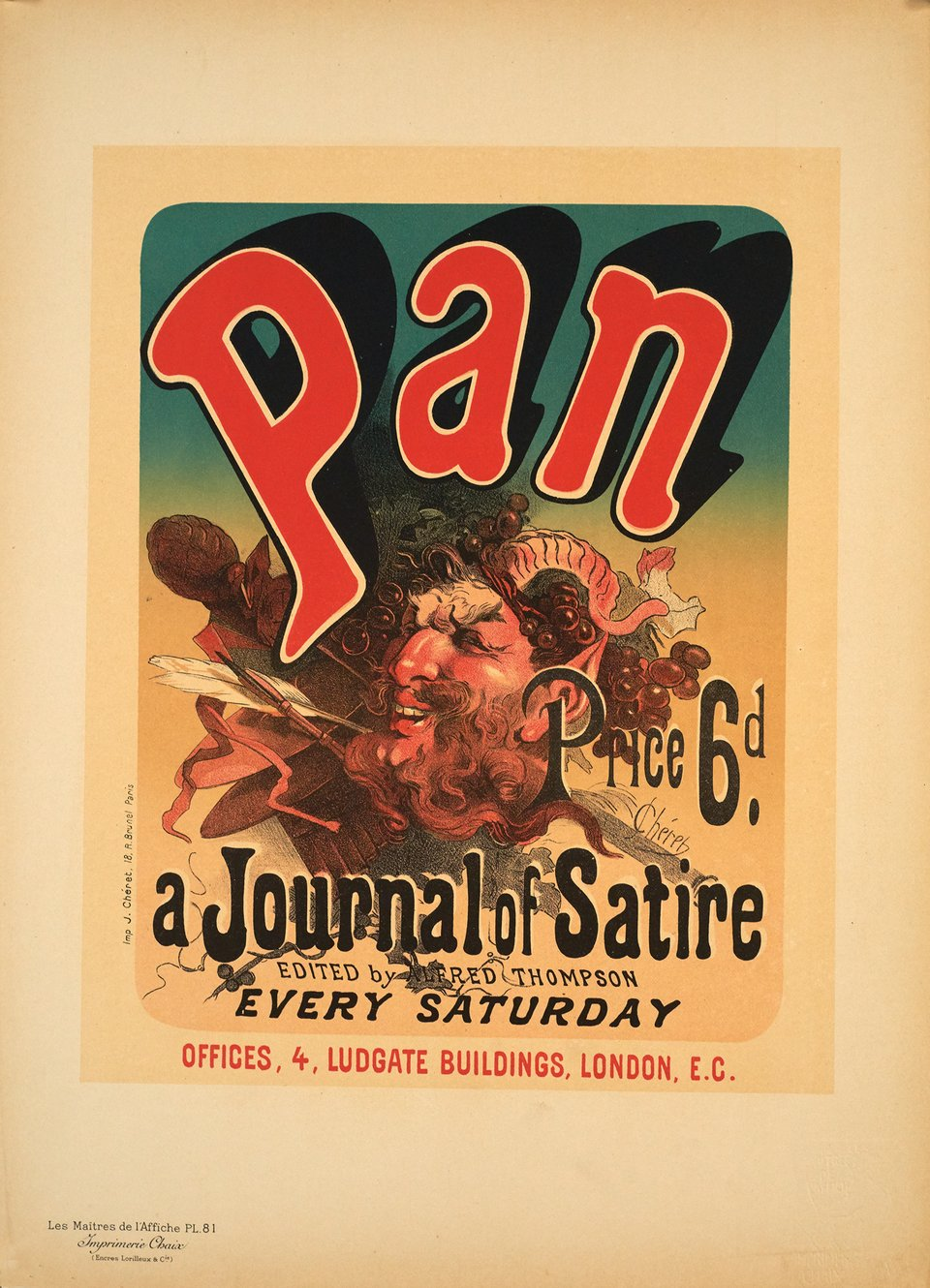 Pan a Journal of Satire – Vintage poster – Jules CHERET – 1897