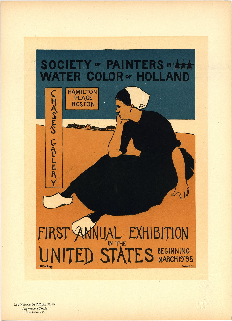PL. 112 First Annual Exhibition in the United States – Affiche ancienne – Ch. H. WOODBURY – 1898