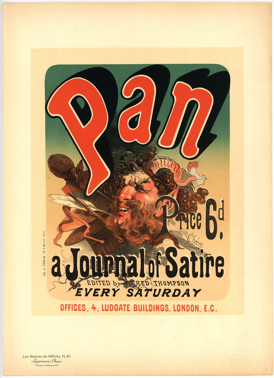PL. 81 Pan a Journal of Satire – Vintage poster – Jules CHERET – 1897