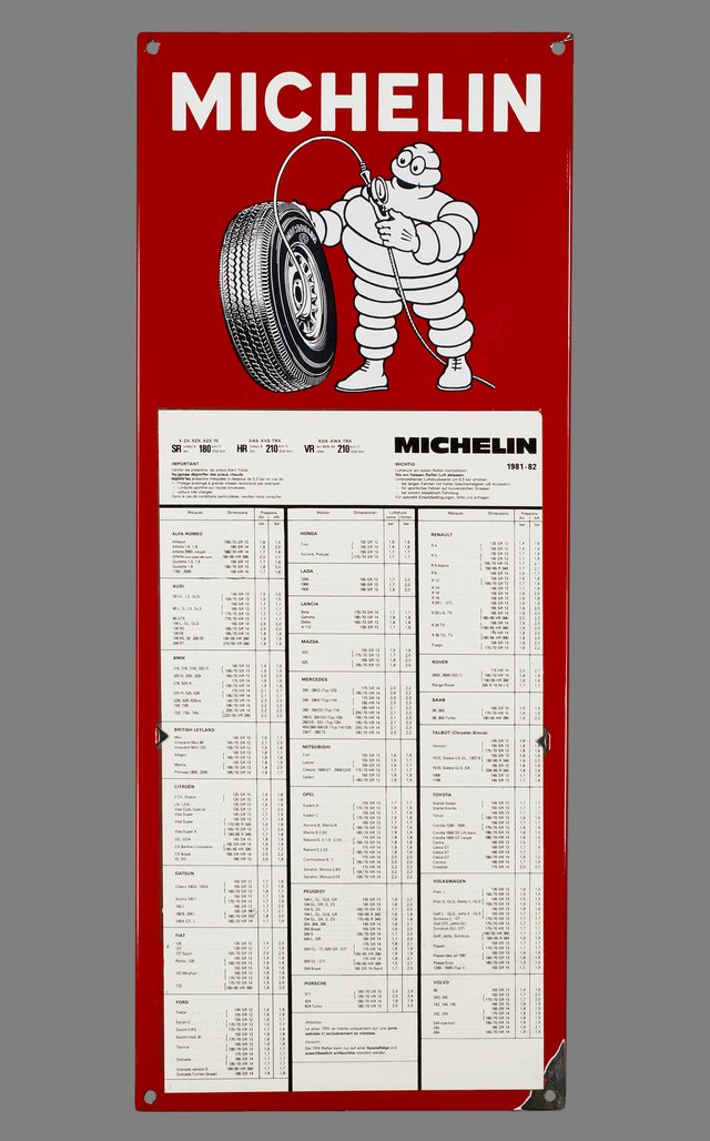 Michelin, table de pression des pneus